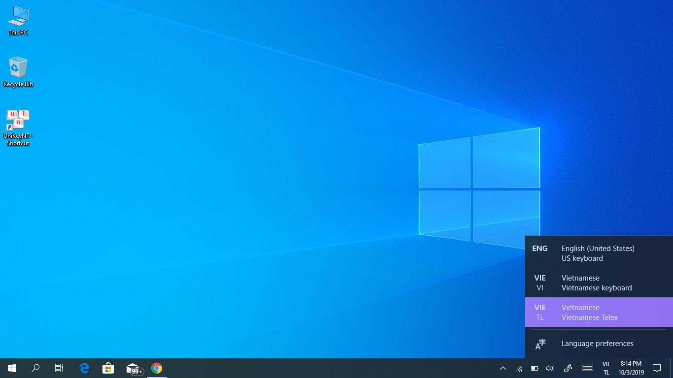 Bộ gõ tiếng Việt trên Windows 10