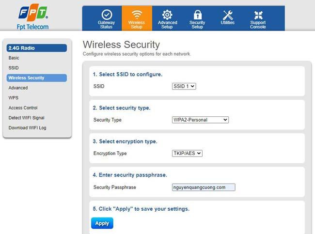 hướng dẫn đổi mật khẩu wifi fpt trên máy tính